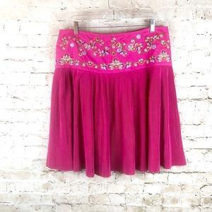 NWT Women's Oilily Pink Embroidered Skirt EUR 44